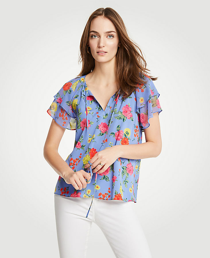 Petite Island Floral Tiered Ruffle Sleeve Top