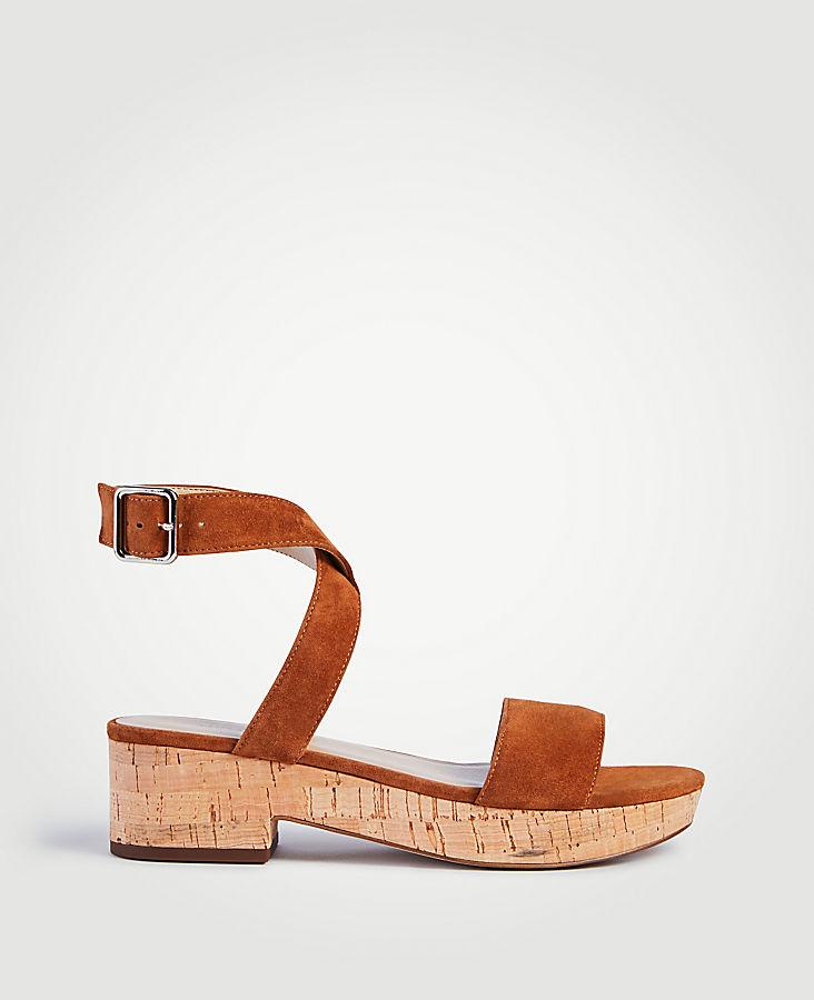 Glenna Suede Platform Sandals   Tuggl