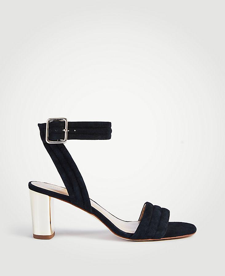 ANN TAYLOR Rowan Suede Metallic Block Heel Sandals
