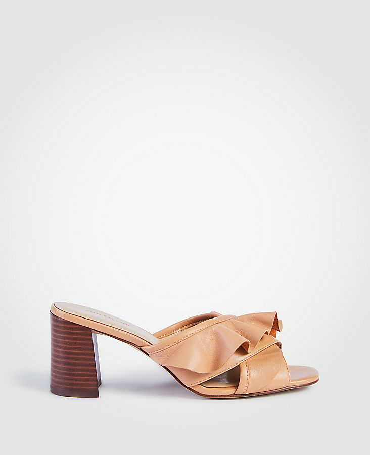 Evena Leather Ruffle Block Heel Sandals | Tuggl