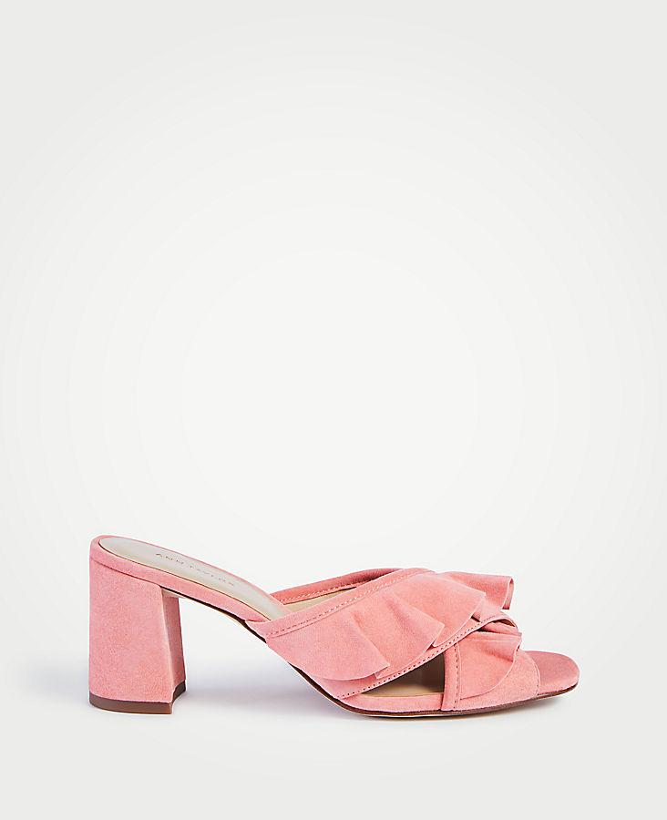 Evena Suede Ruffle Block Heel Sandals | Tuggl