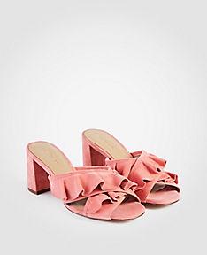 ANN TAYLOR Evena Suede Ruffle Block Heel Sandals