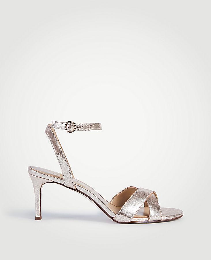 Judith Metallic Leather Kitten Heeled Sandals | Tuggl