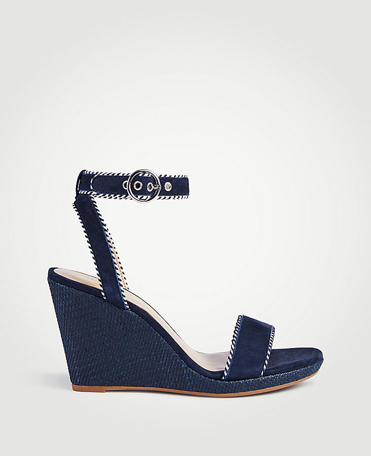 ANN TAYLOR Haydee Suede Wedge Sandals