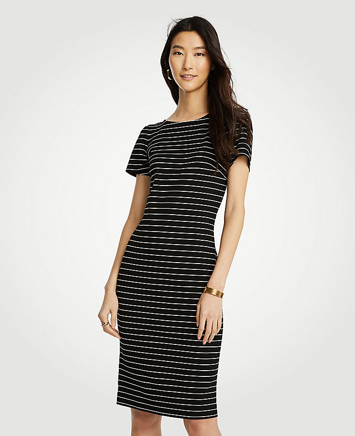 Stripe Puff Sleeve Ponte Sheath Dress | Tuggl