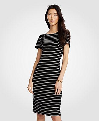 Ann Taylor Tall Stripe Puff Sleeve Ponte Sheath Dress