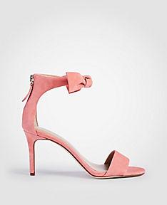 ANN TAYLOR Rosalyn Suede Leaf Heeled Sandals 4Gx7SjINQs
