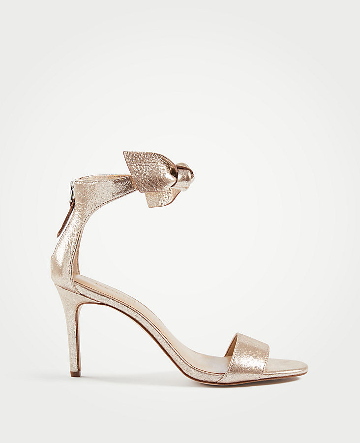 fcc404e882e7 Rosalyn Metallic Leather Leaf Heeled Sandals