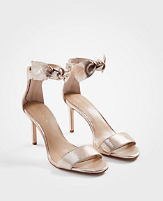 ANN TAYLOR Rosalyn Metallic Leather Leaf Heeled Sandals g5nMzKrh8