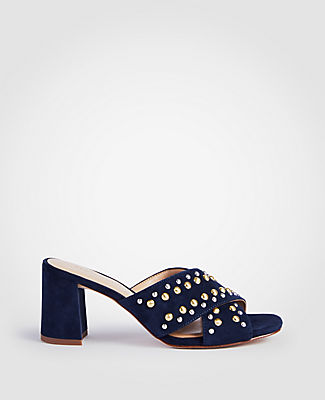 MARIAH SUEDE STUDDED HEELED SANDALS