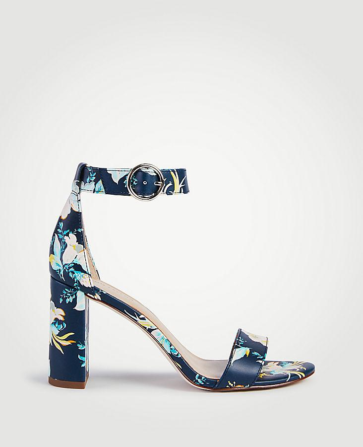 Leannette Floral Leather Block Heel Sandals | Tuggl