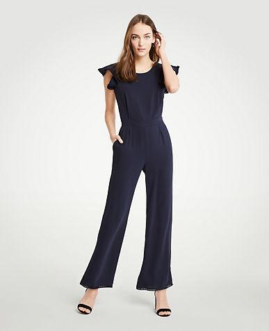 Petite Fluted Sleeve Linen Blend Jumpsuit ANN TAYLOR