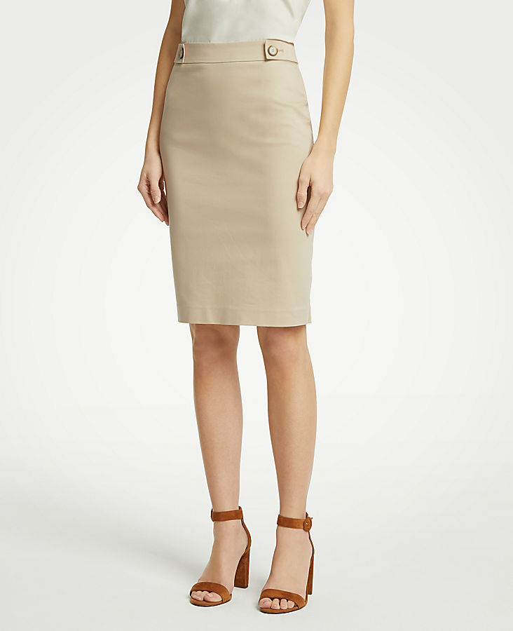 Cotton Sateen Button Tab Skirt | Tuggl