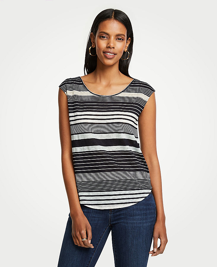 Striped Linen Scoop Neck Tee | Tuggl