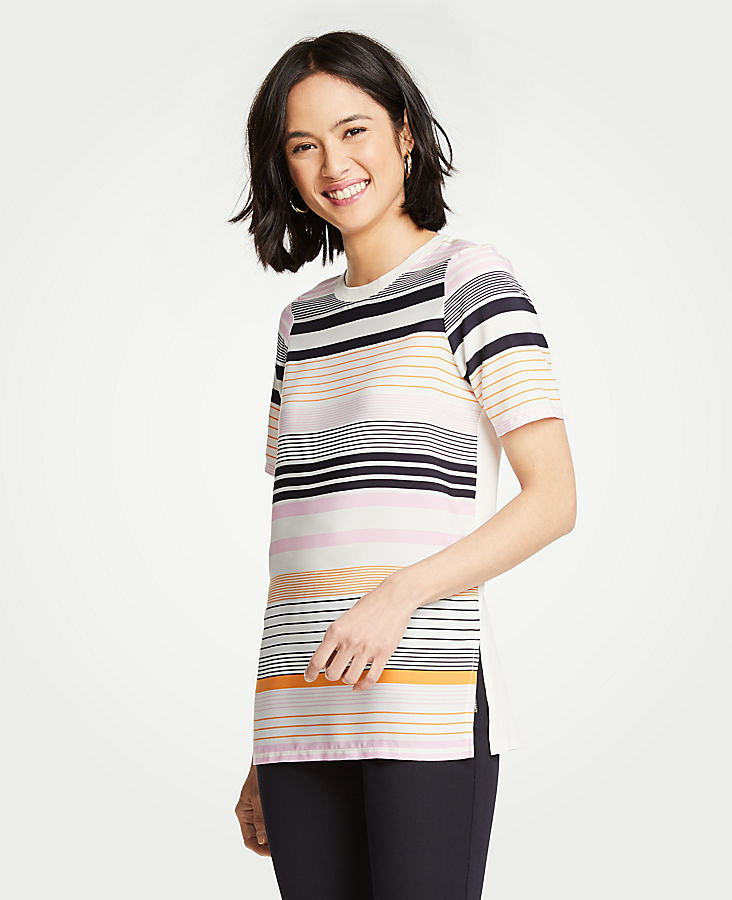 Striped Mixed Media Tunic | Tuggl