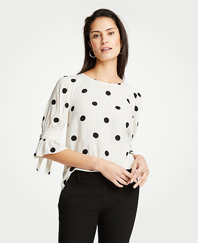 Polka Dot Bow Sleeve Top