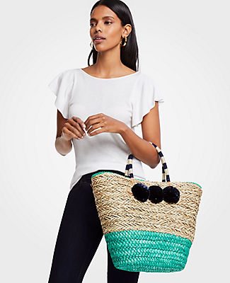 Image of Ann Taylor Factory Large Straw Pom Pom Tote