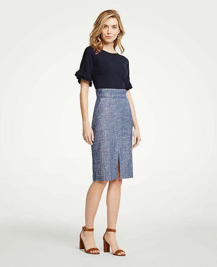 Chambray Pencil Skirt   Tuggl