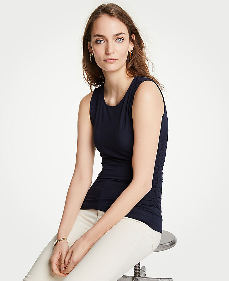 Side Ruched Knit Tank | Tuggl