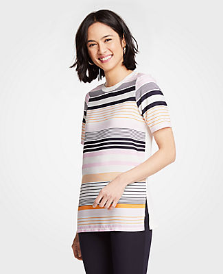 Ann Taylor Petite Striped Mixed Media Tunic 25243406