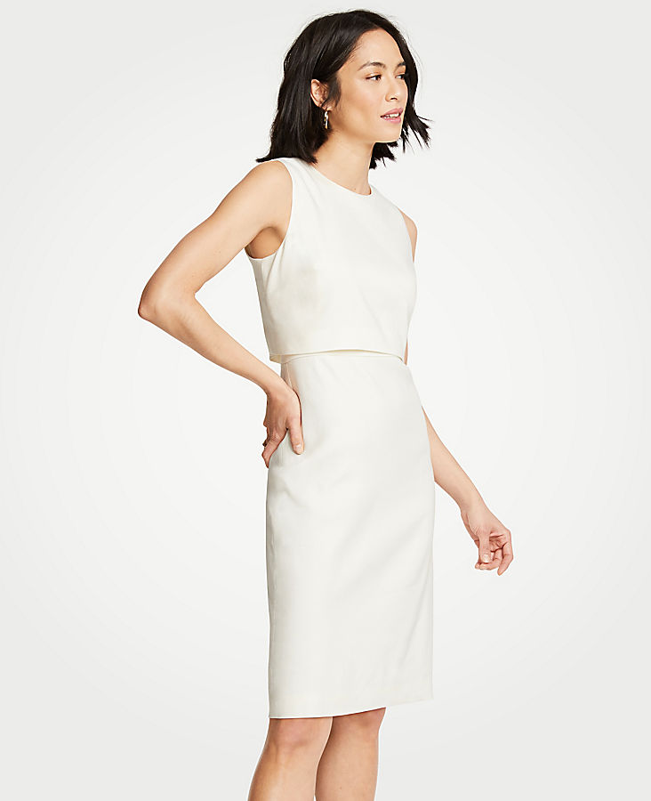 Petite Linen Blend Overlay Sheath Dress | Tuggl