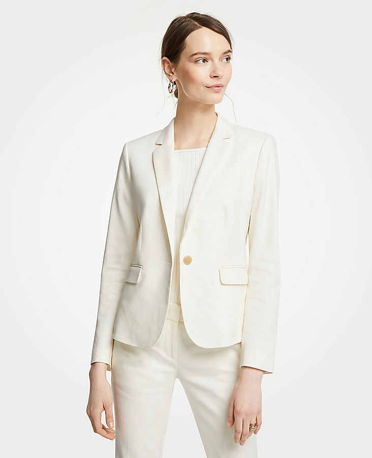 Petite Linen Blend One Button Blazer | Tuggl