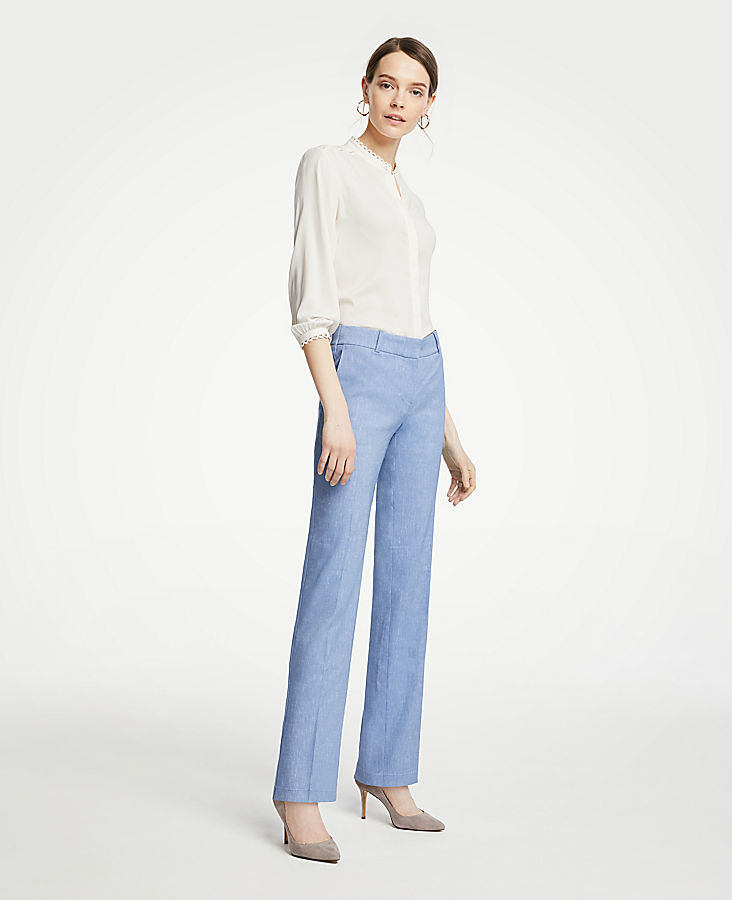 The Petite Straight Leg Pant In Linen Blend | Tuggl