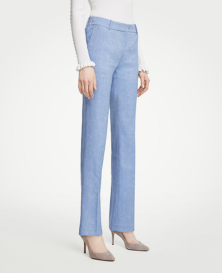 The Petite Straight Leg Pant In Linen Blend - Curvy Fit