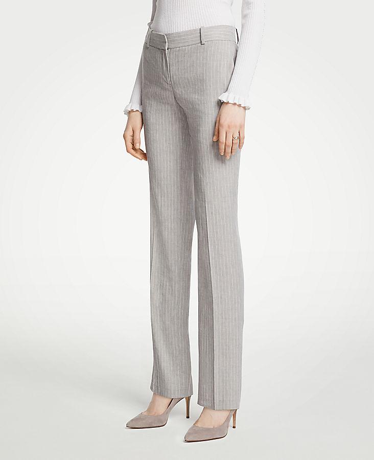 The Petite Straight Leg Pant In Pinstripe Linen Blend | Tuggl