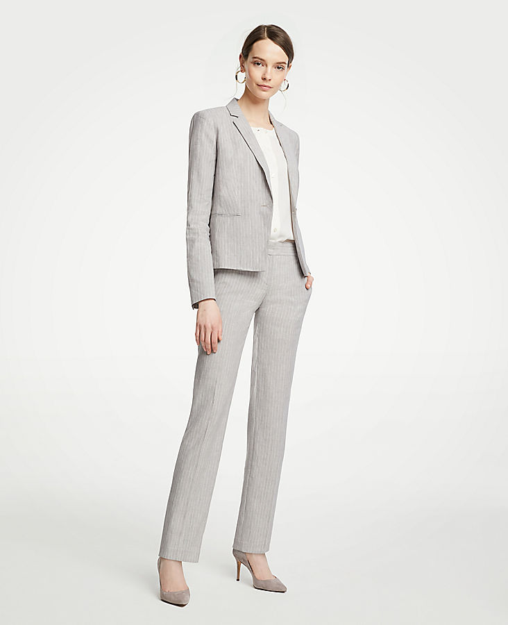 The Petite Straight Leg Pant In Pinstripe Linen Blend - Curvy Fit | Tuggl