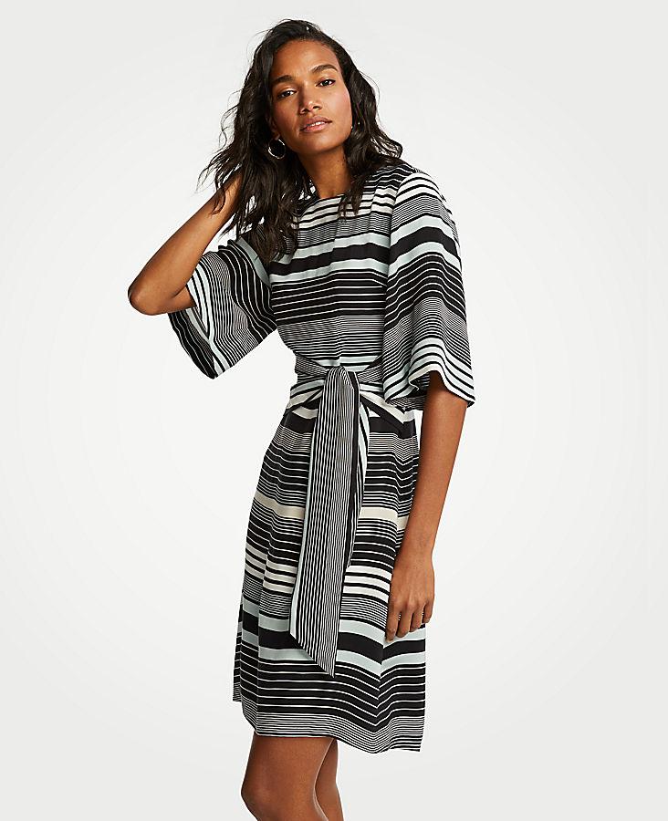 Petite Striped Tie Waist Shift Dress