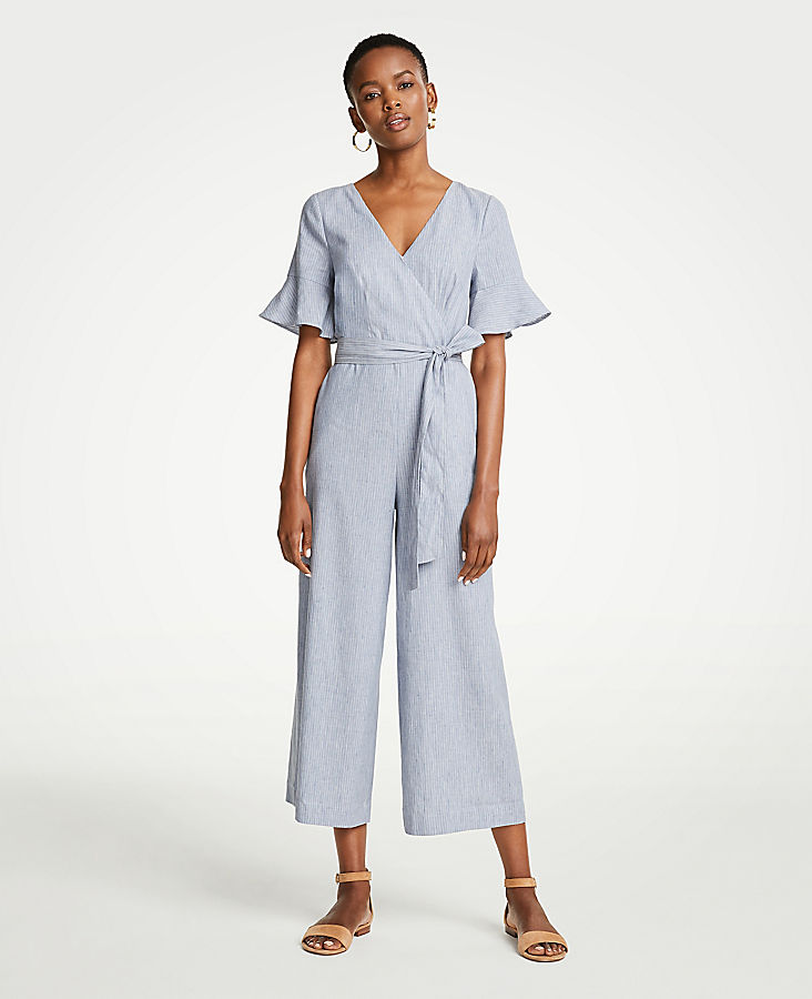 Petite Fluted Sleeve Linen Blend Jumpsuit