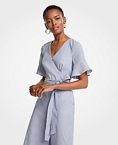 Petite Fluted Sleeve Linen Blend Jumpsuit ANN TAYLOR Sale Cheap Price Latest Collections Online q7CASy