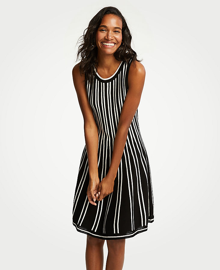 Petite Striped Flare Sweater Dress