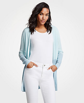 Ann Taylor Colorblock Ribbed Open Cardigan 25051261