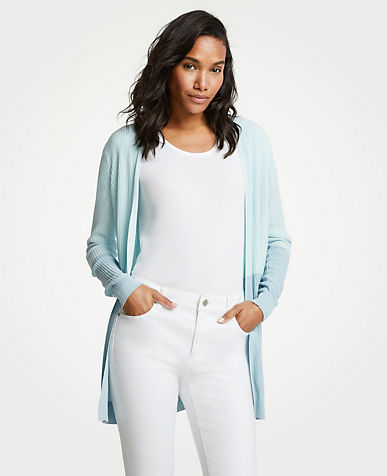 Colorblock Ribbed Open Cardigan