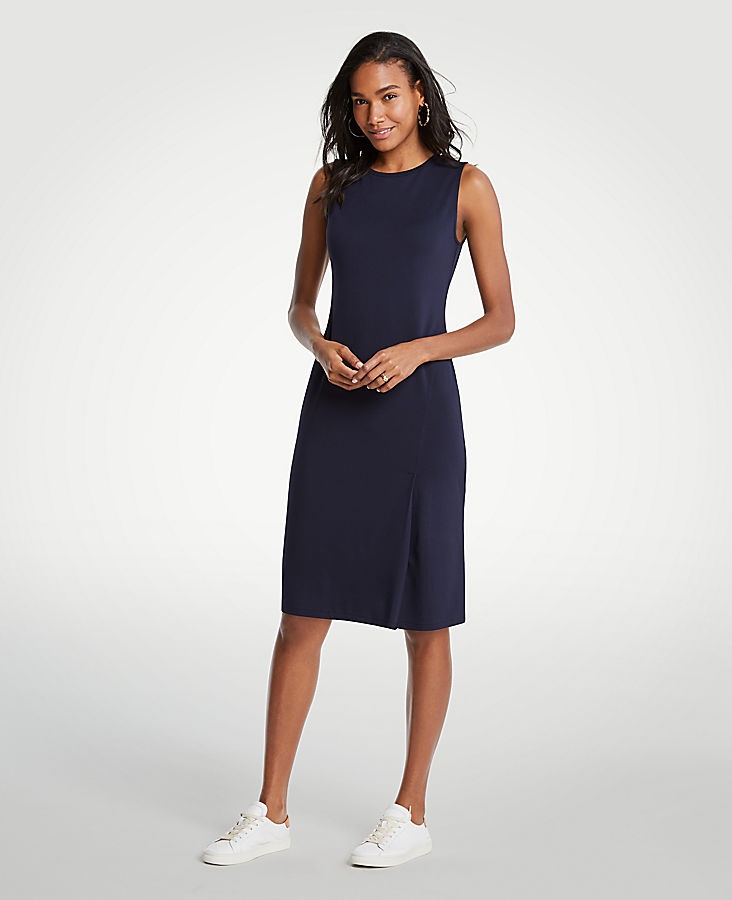 Pleated Ponte Sheath Dress at Ann Taylor in Victor, NY | Tuggl