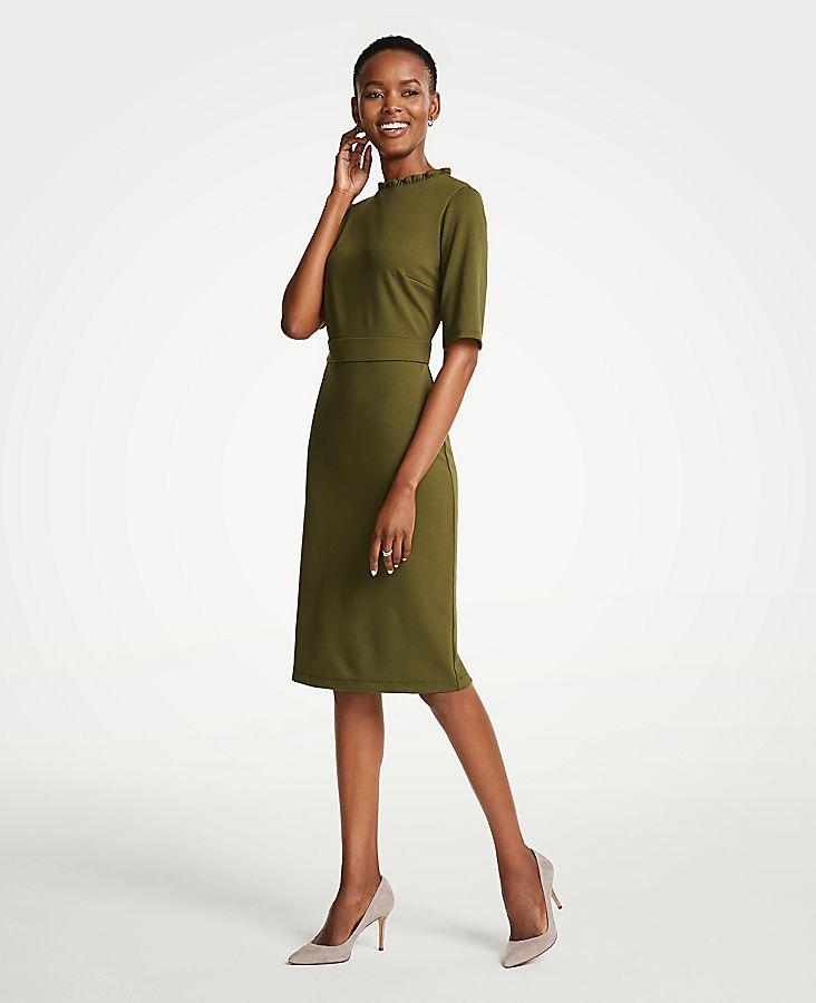 Ruffle Neck Ponte Sheath Dress | Tuggl