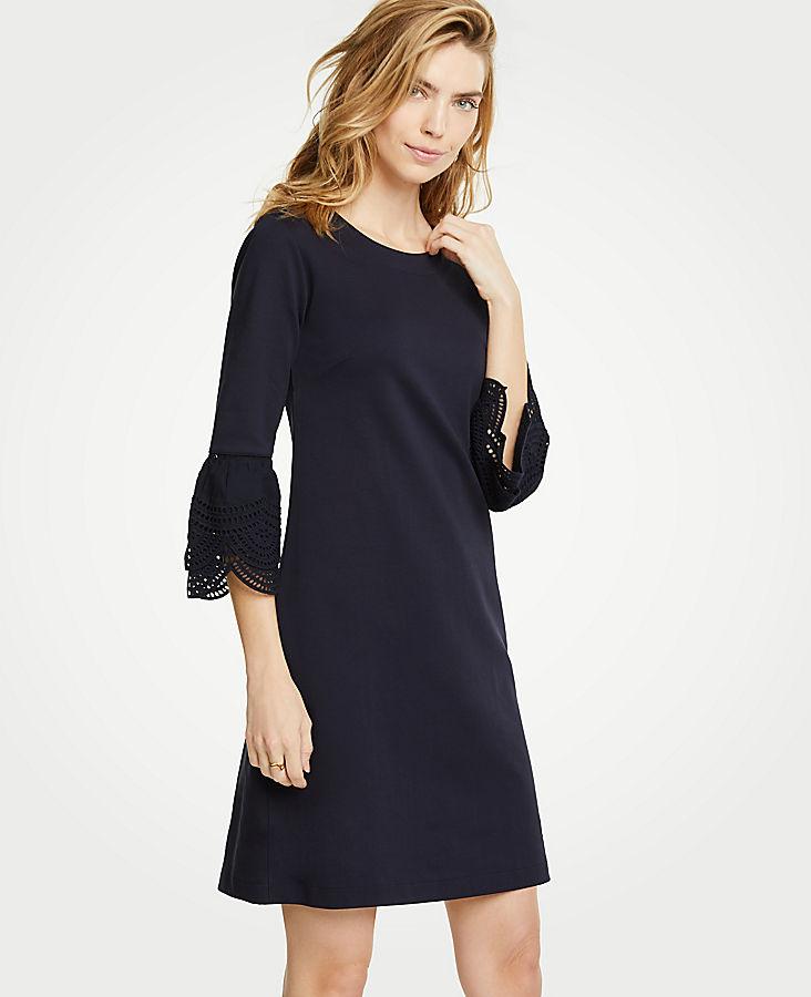 Lace Flare Sleeve Shift Dress   Tuggl