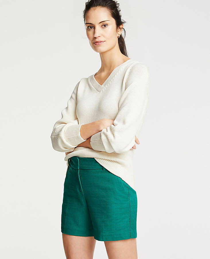 Petite Textured Cotton Metro Shorts