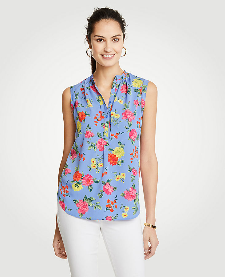 Petite Island Floral Shirred Popover Shell