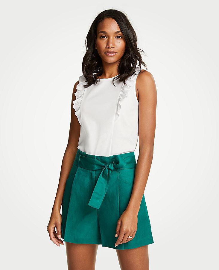 Petite Pleated Tie Waist Shorts