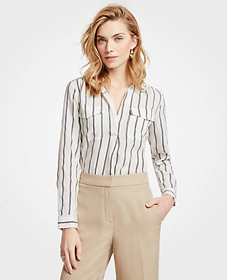 Ann Taylor Petite Striped Camp Shirt