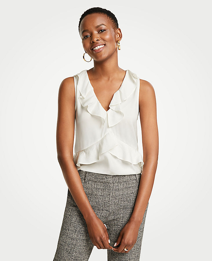 Petite Tiered V-Neck Ruffle Shell | Tuggl