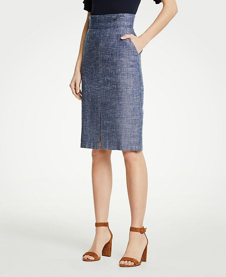 Petite Chambray Pencil Skirt | Tuggl