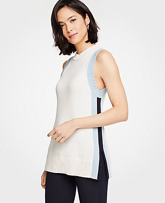 Ann Taylor Petite Colorblock Mock Neck Tunic Sweater 25053586