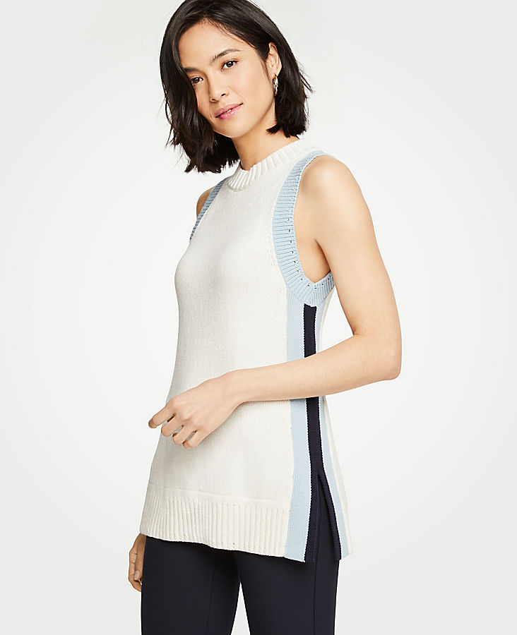 Petite Colorblock Mock Neck Tunic Sweater | Tuggl