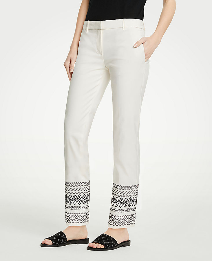 The Petite Ankle Pant In Embroidery - Curvy Fit