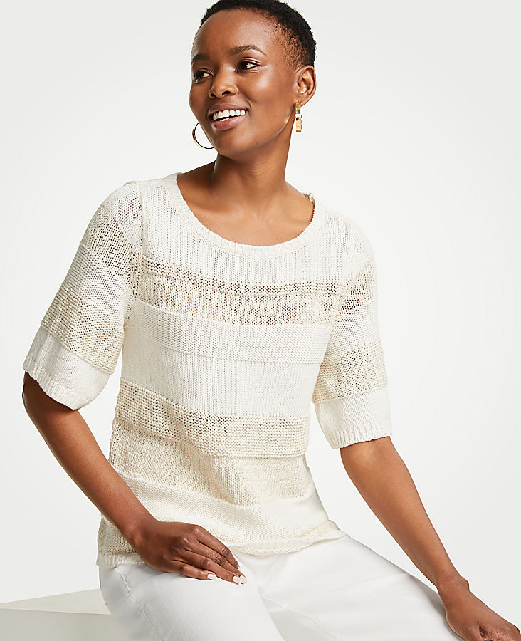 Petite Mixed Stitch Short Sleeve Sweater