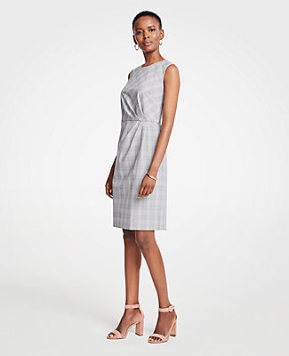 PETITE GLEN PLAID RUCHED SHEATH DRESS